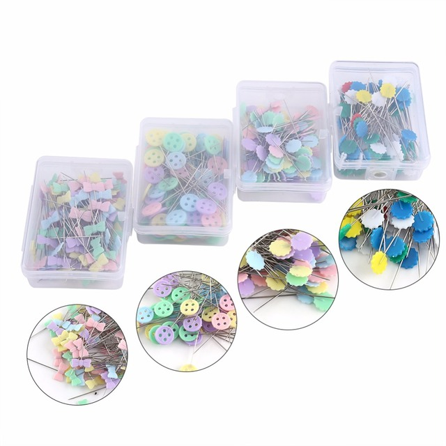 100Pcs/lot Sewing Accessories Patchwork Pins Flower/Bow tie/Button Pin Sewing With Box Sewing Tool Needle Arts DIY Crafts