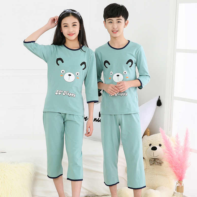 3-16y Kids Sleepwear Clothes Big Boys Girls Pajamas Sets Cartoon Half Sleeve Cotton Pyjamas Teens Nightwear Clothes Pijamas Suit