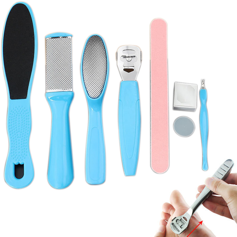 цена на 8Pcs/Set Manicure Foot Care File Set Dead Hard Skin Callus Remover Scraper Pedicure Rasp Tools Feet Care Tool Kit H7JP