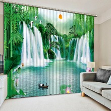 Custom any size  home decor decoration waterfall nature scenery country bedroom curtains