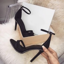New Arrivals Black White Leather Studded Decor Women Sandals Ankle Strap Cut-out Thin Heels Summer Dress Shoes High Heels Pumps