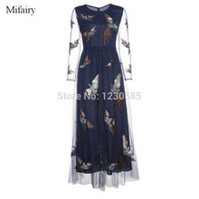 Free Shipping 2016 High End Royal Blue O Neck Sheer Long Sleeves Embroidery Long Women Dresses Evening Party Dress Vestidos