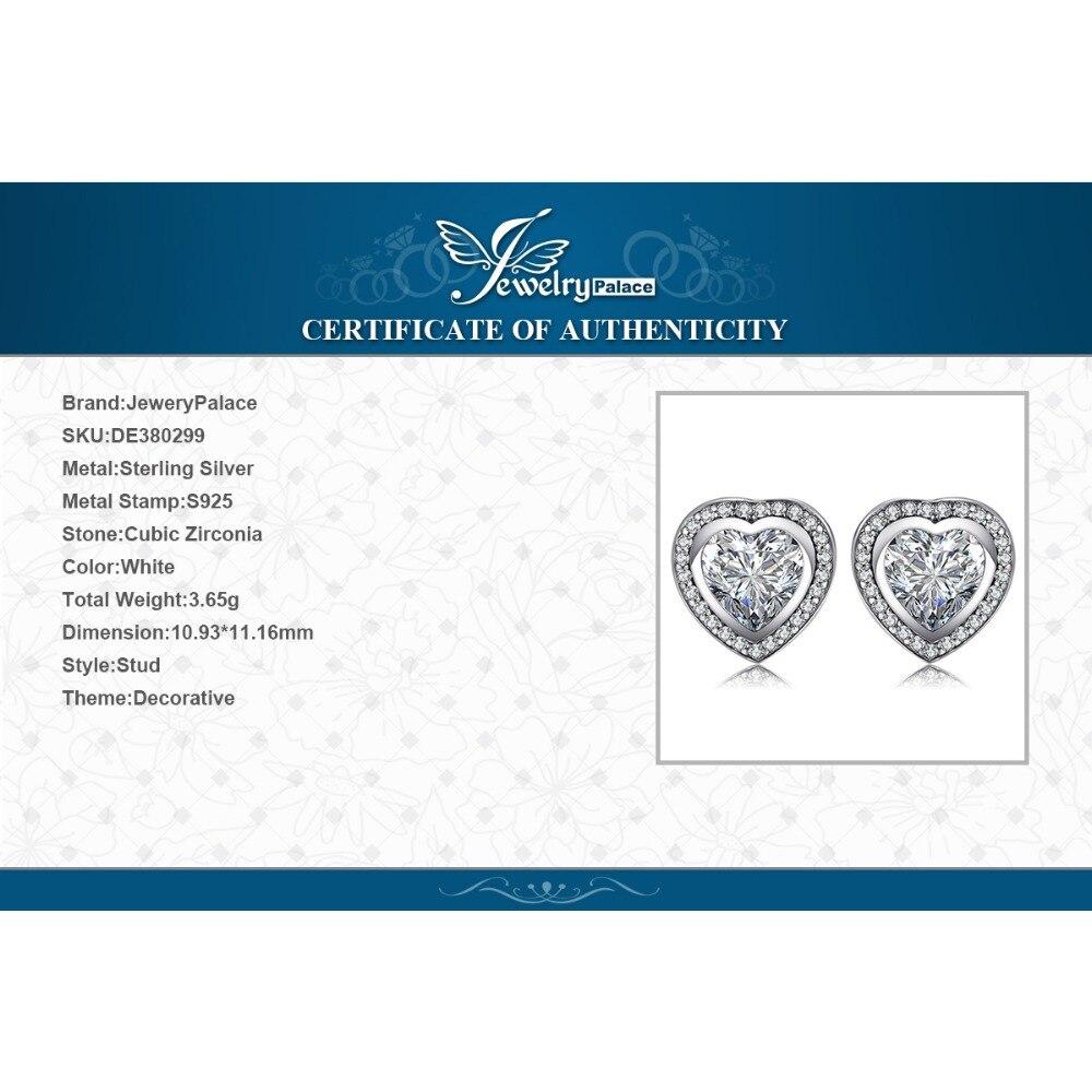 JewelryPalace Love Heart CZ Stud Earrings 925 Sterling Silver Earrings For Women Girls Korean Earrings Fashion Jewelry 2019 in Stud Earrings from Jewelry Accessories