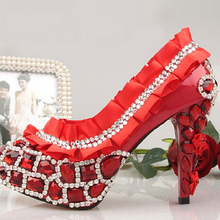 Red Luxury Wedding Dress Shoes Diamond High-heeled Woman Bridal Dress Shoes Bridesmaid Evening Party Rhinestone Shoes