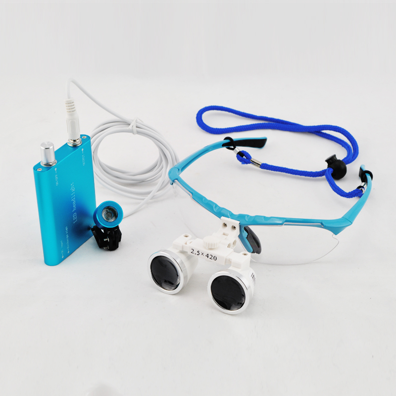 Фотография 2017 New Blue Dentist Dental Surgical Medical Binocular Loupes 2.5X 420mm Optical Glass Loupe+LED Head Light Lamp