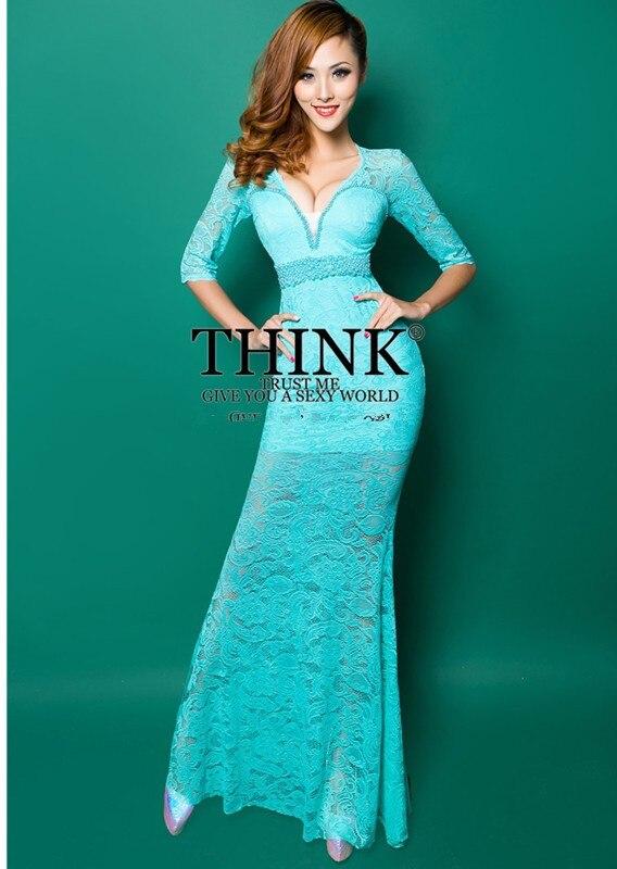 Реалистичная картина кружево с v-образным вырезом Вечерние платья строгое длинное вечернее платье vestido de festa rendo robe de soiree abiti da sera 559 - Цвет: Sky blue