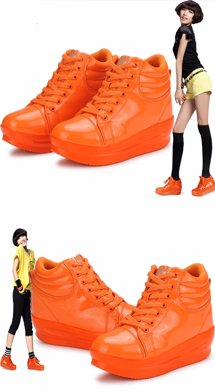 KUYUPP 2016 Fashion Hide Heel Women Casual Shoes Breathable Flat Platform Casual Women Shoes Patent Leather High Top Shoes YD105 (20)