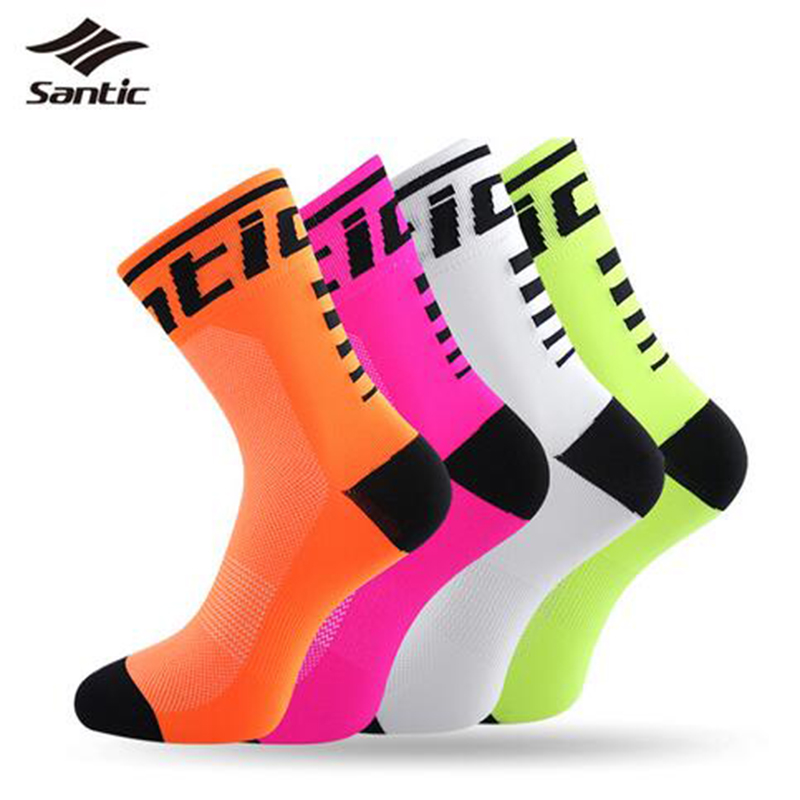 Santic Cycling Socks Men Women Anti-sweat Outdoor Sports Running Breathable Sport Calcetines Bicycle Bike Meias SK0016