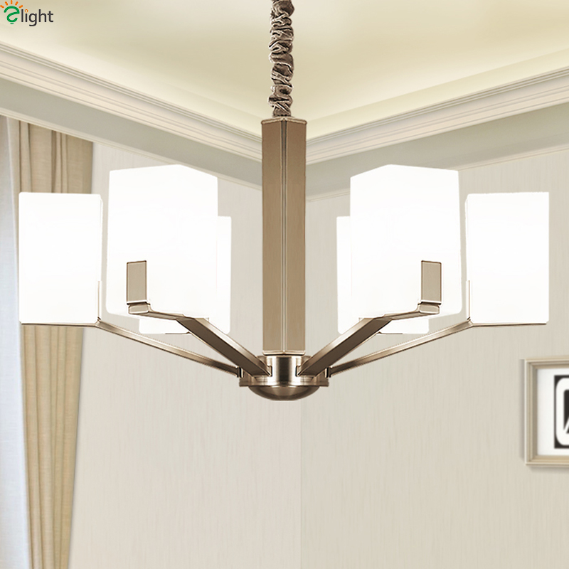 Modern Nickel Metal Led Chandeliers Lighting Dining Room Glass Shade Led Pendant Chandelier Lights Bedroom Hanging Lamp FixturesModern Nickel Metal Led Chandeliers Lighting Dining Room Glass Shade Led Pendant Chandelier Lights Bedroom Hanging Lamp Fixtures