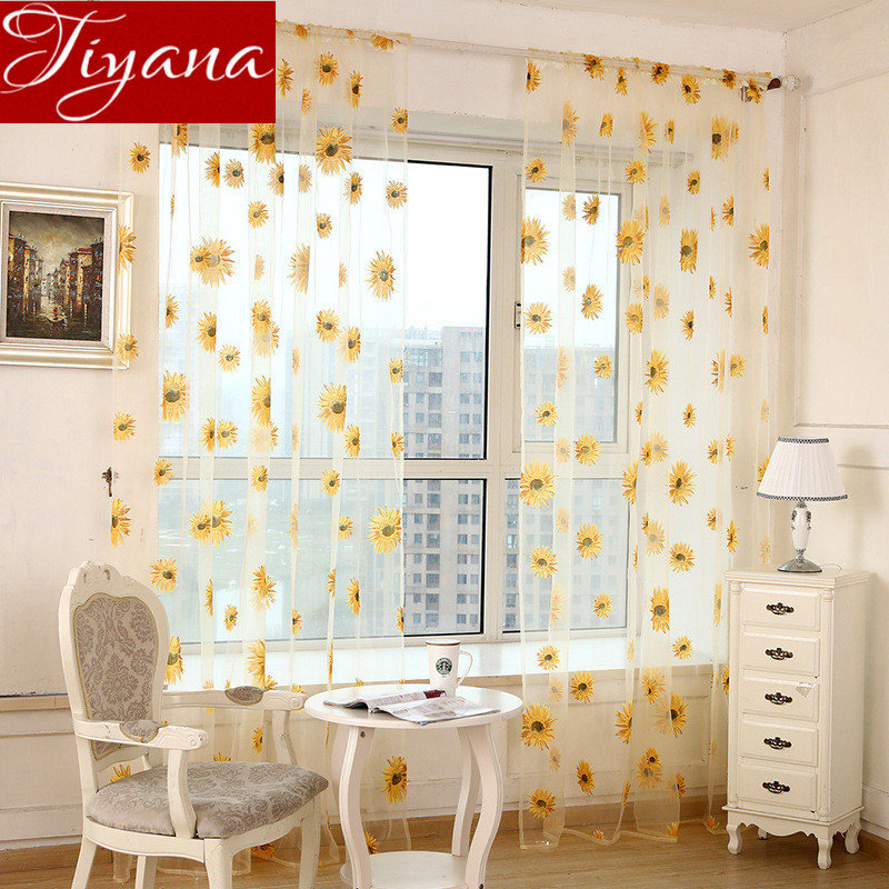 Pastoral Sunflowers Voile font b Curtains b font Window Screen font b Curtains b font Yarn