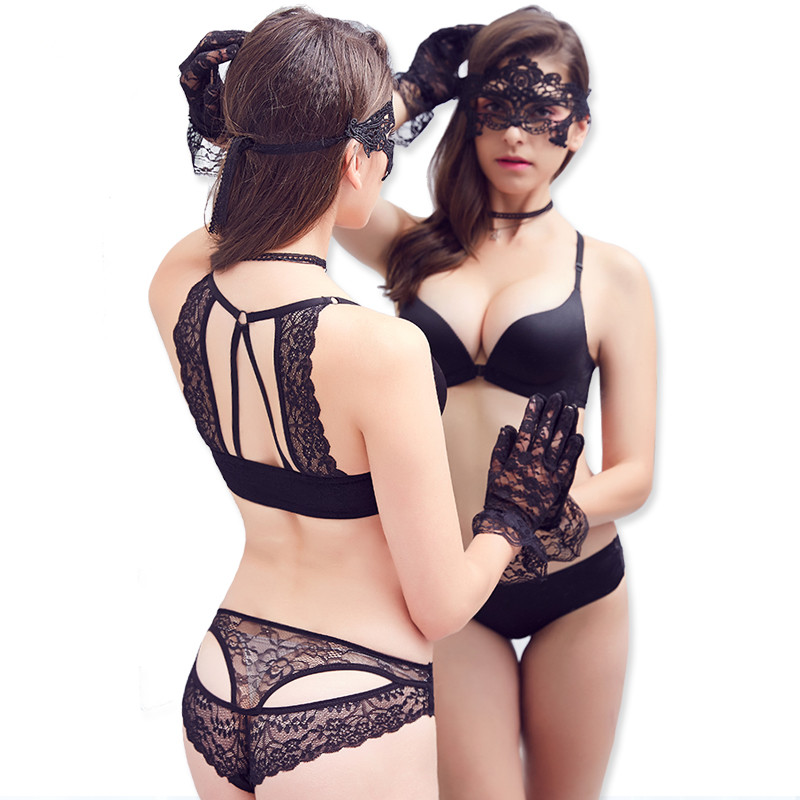 Merek fashion amerika kembali wanita bra seksi set, Anterior cingulate mulus renda seksi mengumpulkan bra, Pakaian dalam wanita bra, Set singkat
