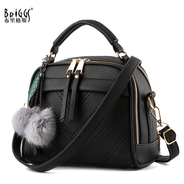 BRIGGS Fashion Quality Leather Female Top handle Bags Small Women Crossbody Bag Cute Shoulder Messenger Bag For Ladies Hand Bags