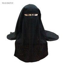 Hồi giáo Dây Khăn Hồi Giáo 3 lớp Niqab Burqa Bonnet Hijab Nắp Che Mũ Đen Che Mặt Abaya Phong Cách Quấn Đầu bao da