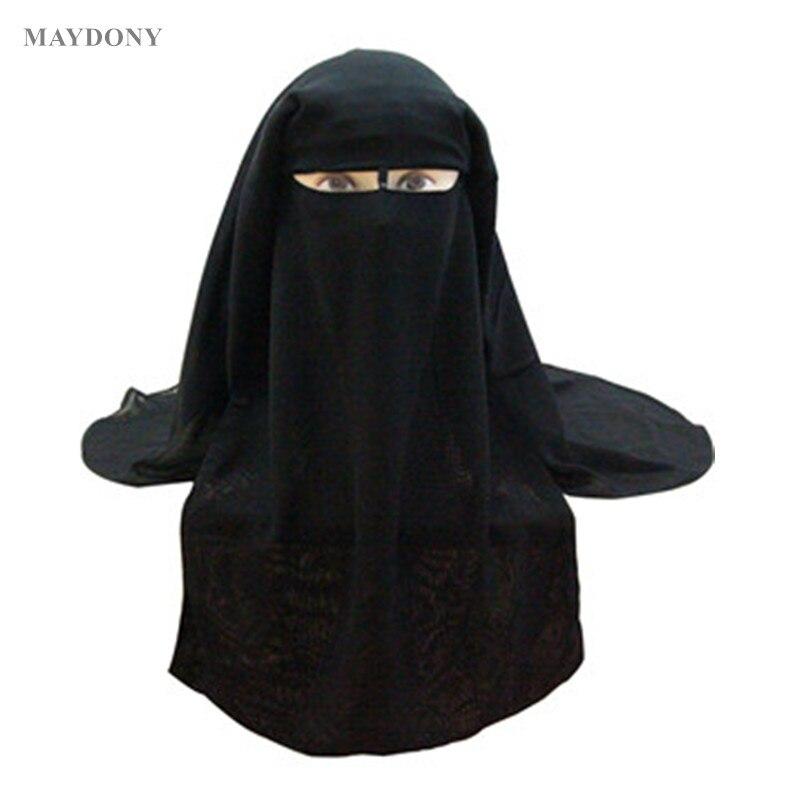 Muslim Bandana Scarf Islamic 3 layers Niqab Burqa Bonnet Hijab Cap Veil Headwear Black Face Cover Abaya Style Wrap Head Cover