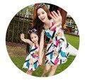 2016 Mother Daughter Summer Dress Clothes Mom Kids Summer Fashion Sleeveless Animal Dresses Clothes conjuntos mami e hija
