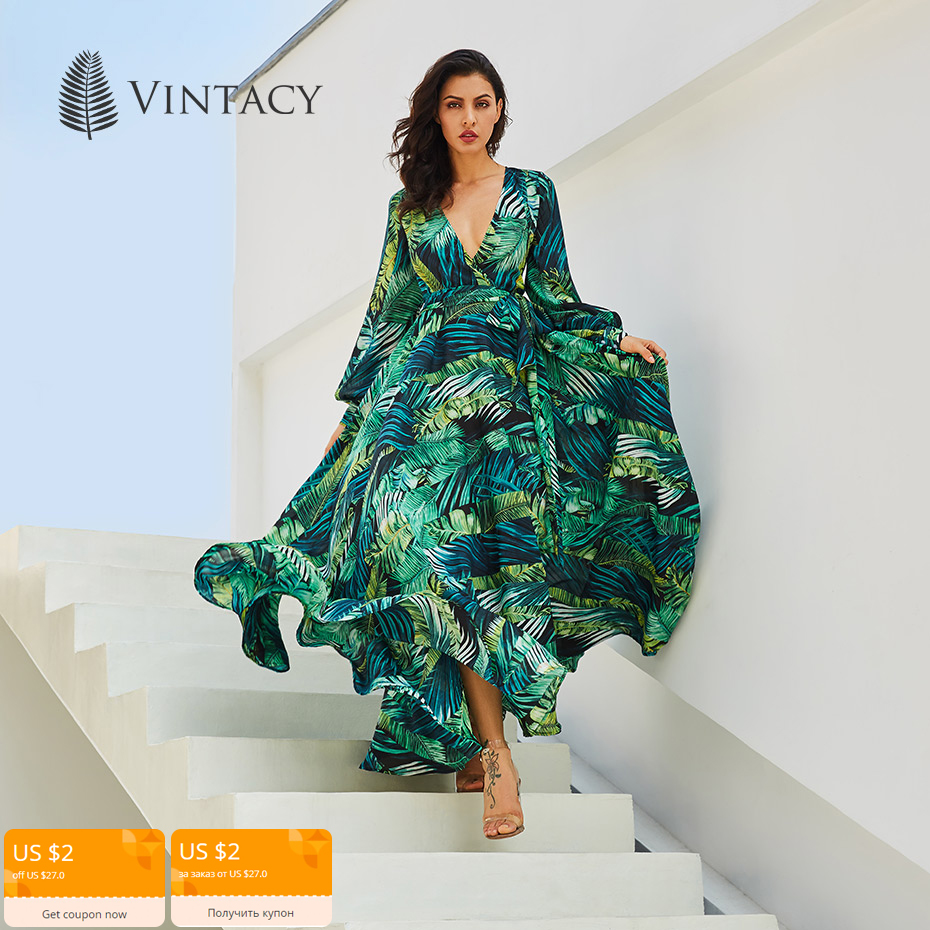 Vintacy Long Sleeve Dress Green Tropical Beach Vintage Maxi Dresses Boho Casual V Neck Belt Lace
