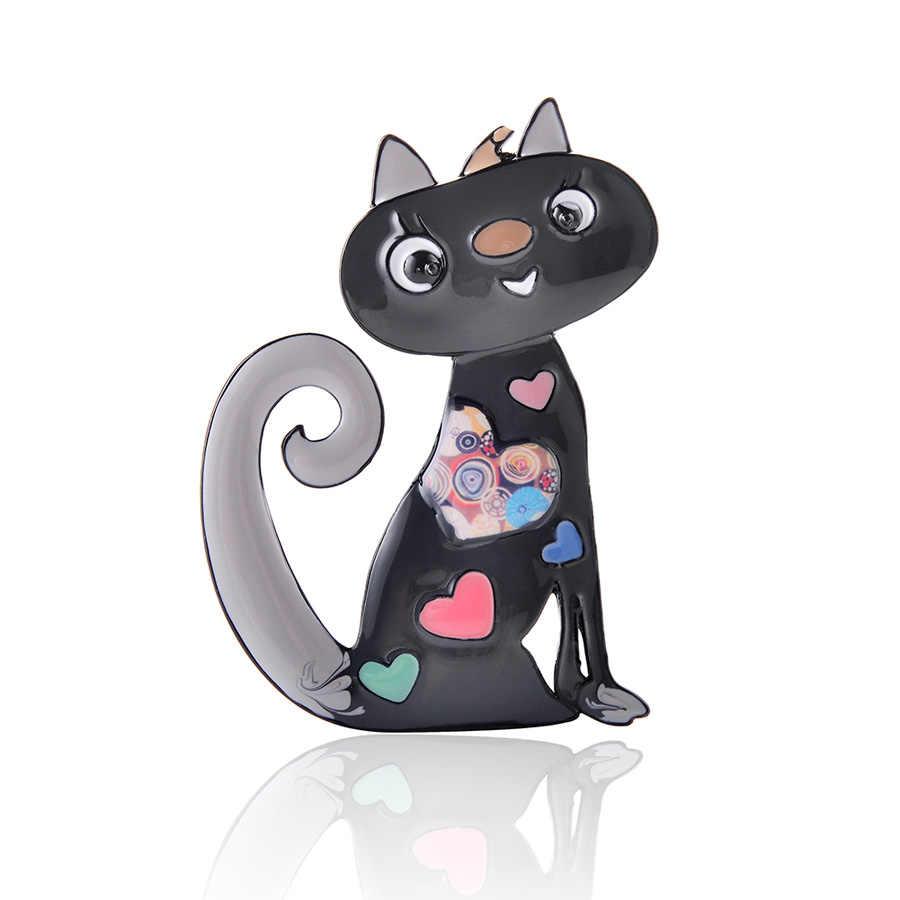 Lucu Enamel Cat Bros Wanita Pin Fashion Perhiasan Paduan Seng Gadis Bros Klasik Wanita Pin Dress Aksesoris Pesta Hadiah Baru