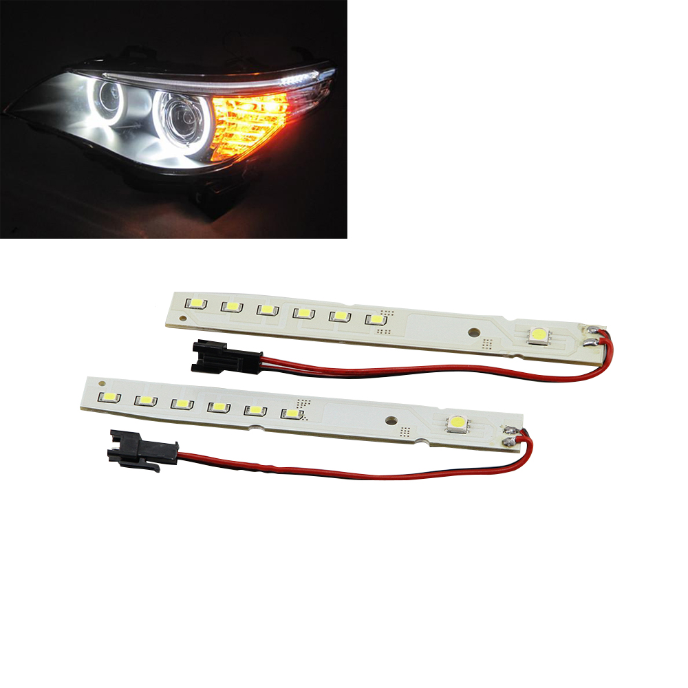2x Xenon 6000K White LED Module Eyelid Eyebrow Mod For BMW E60 LCI 5 Series 2008-2010 528i 535i 550i Drl Daytime Running Light
