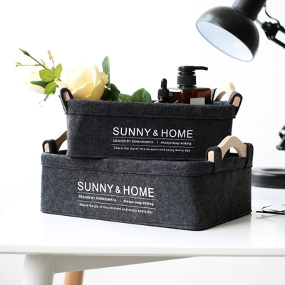 Nordic Wind Felt Wooden Handle Storage Basket Sundries Storage Box Left Finishing Box Makeup Storage Box in Storage Baskets from Home Garden
