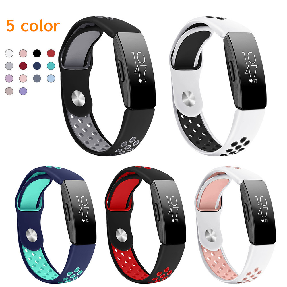Double Color Silicone Strap Band For Fitbit Inspire HR Smart Bracelet Wristband New Inspire Breathable Silicone Accessories
