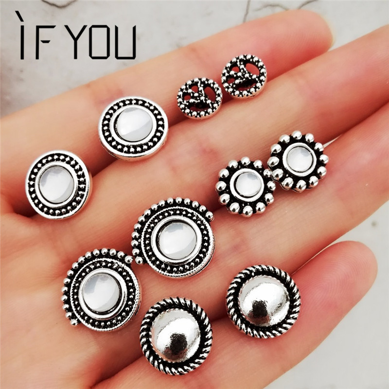 IF YOU Vintage 6 Style Round Stud Earrings Set For Women Geometry Flower Earrings Fashion Statement Jewelry Gifts Dropshipping gold earrings for women
