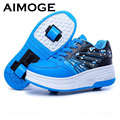 2016 Adultos Niños Zapatos Zapatos Con Dos Ruedas de Patines de ruedas Para Niños Niñas Niños Zapatillas de Deporte zapatos zapatillas con ruedas