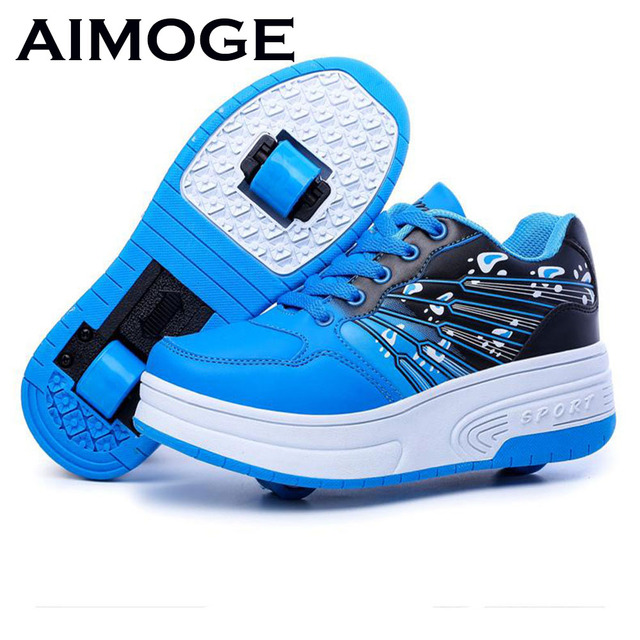 2016 Adults Children Shoes Shoes With Two Wheels Kids Sneakers Roller Skates  For Boys Girls shoes eb4df1f3c788
