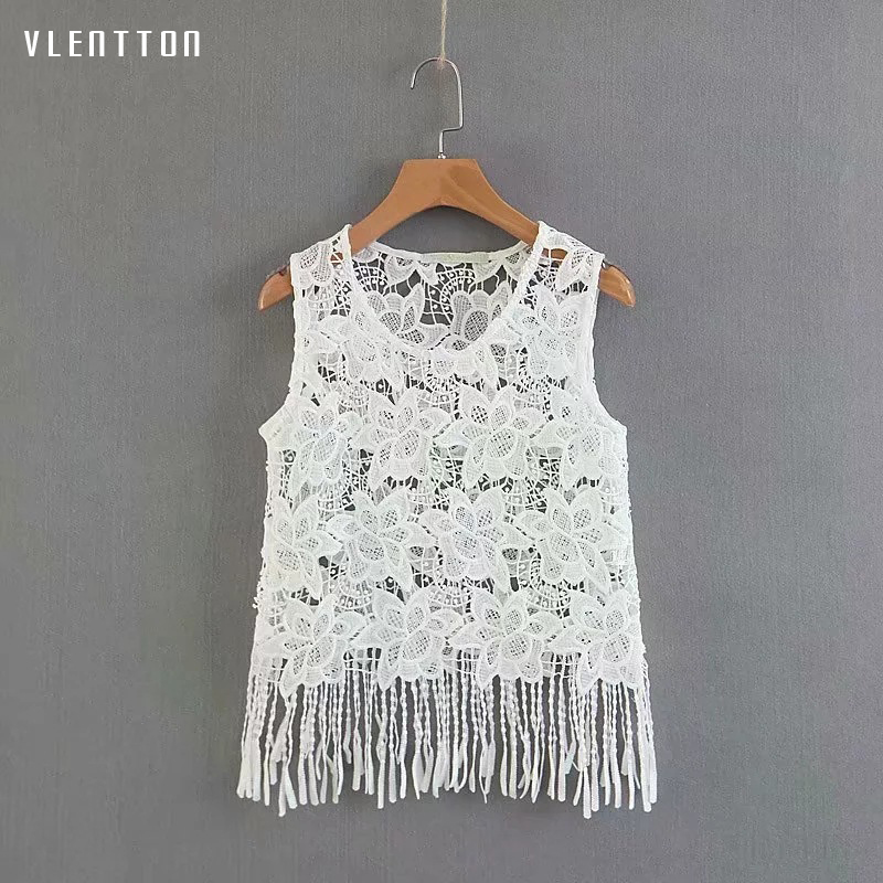 2019 Summer Newest Sexy Hollow Out Tank Tops Female Solid Sleeveless Tassel Short Black White Lace Top For Women