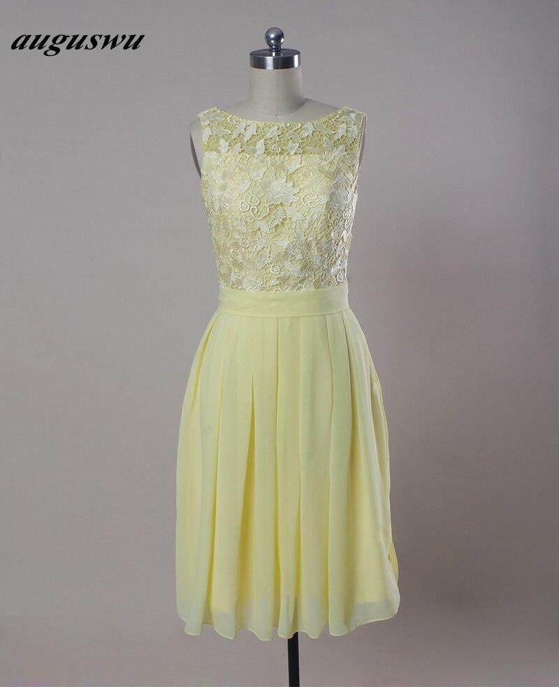 Light Yellow Bridesmaid Dresses Cheap Chiffon Bottom