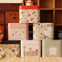 Zakka literature and art illustration Storage Box 1PC little Flower Tea Candy Square Jewelry Tin Box B-GC