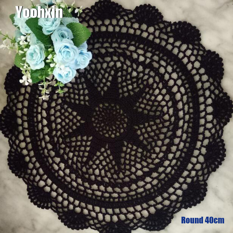 HOT Floral Round cotton Lace table place mat party pad Cloth crochet placemat cup mug tablecloth tea pot coaster doily kitchen