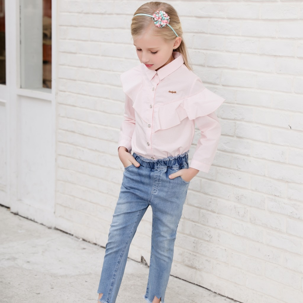 CANDYDOLL New fall girl 39 s shirt cotton striped long sleeve children 39 s shirt fashionable personality blouse pink lovely shirt in Blouses amp Shirts from Mother amp Kids