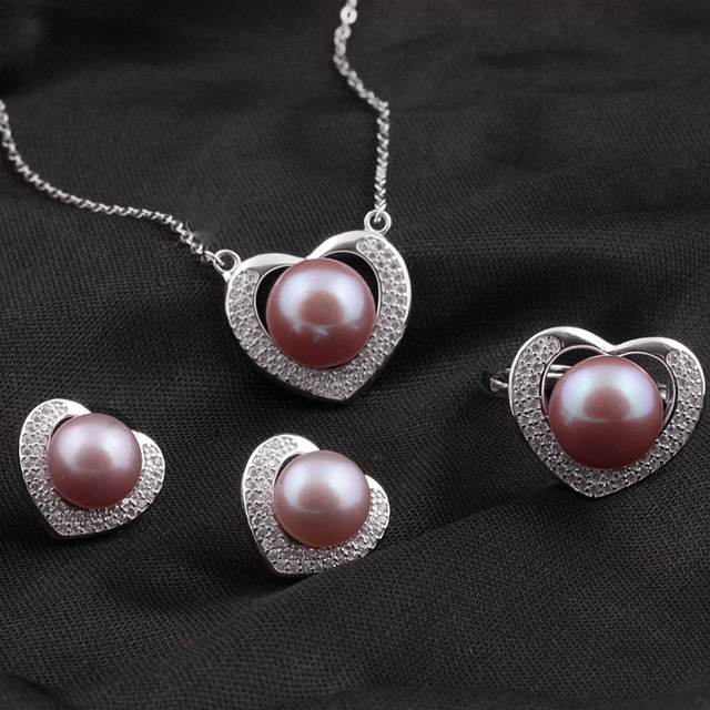 [MeiBaPJ]New style love heart top quality 100% genuine freshwater pearl jewelry sets for women 925 silver metal with Gift box