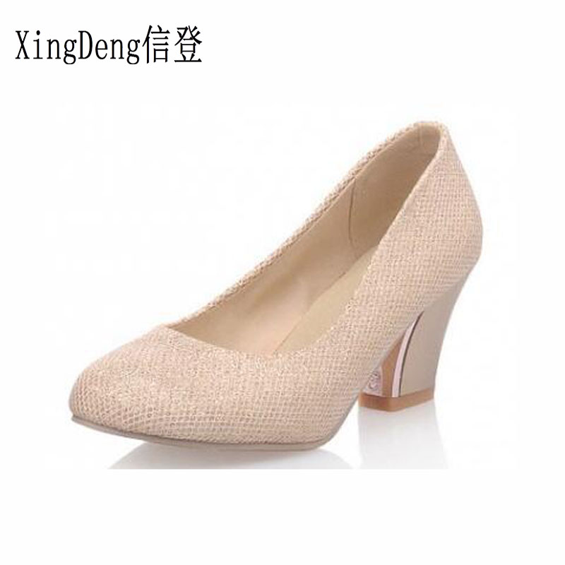 Detail Feedback Questions about XingDeng Big Size 32 43 Women Fashion  Pointed Toe Thick Heel Office High Heel Pumps Shoes Ladies Sequins Sweet  Party ... 4e6757c77038