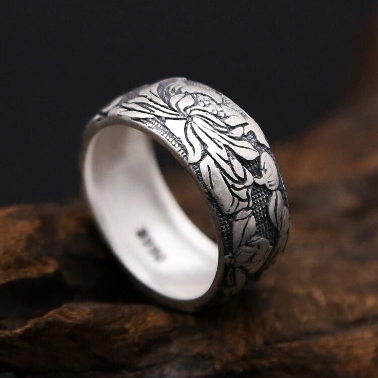 Одноцветное чистого серебра 990 Винтаж лотоса группа Кольца Для мужчин Для женщин широкий Прохладный под старину стерлингов Серебряные ювел...