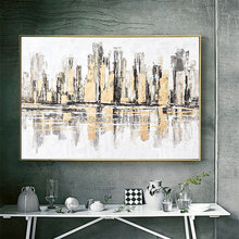 Hand painted TOP Modern grey Canvas Art NEW YORK oil Painting gold city Wall Pictures wall For Living Room decor