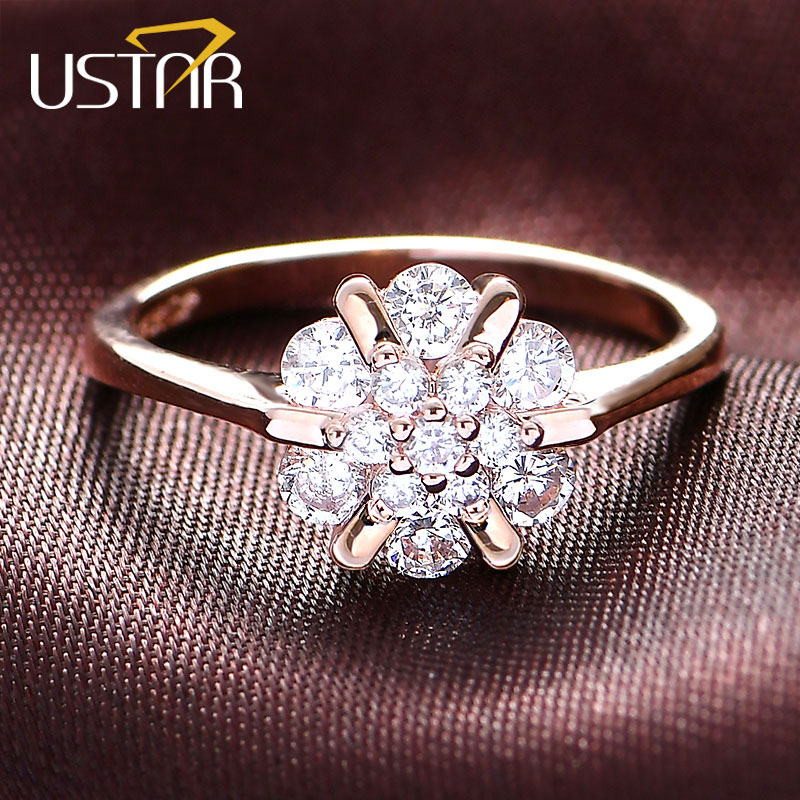 USTAR Flower Zircon wedding Rings for women jewelry Austria Crystals Rose Gold color engagement Rings Female Anel bijoux gift-in Engagement Rings from Jewelry & Accessories on Aliexpress.com | Alibaba Group