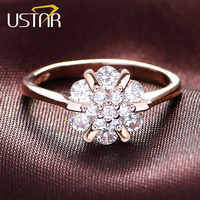 USTAR Flower Zircon wedding Rings for women jewelry Austria Crystals Rose Gold color engagement Rings Female Anel bijoux gift