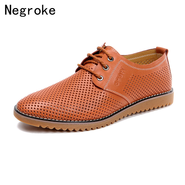 2019 New Casual Shoes Men Spring Summer Hollow Out Breathable Flat Oxfords Footwear Plus Size Chaussure Homme Leather Shoes
