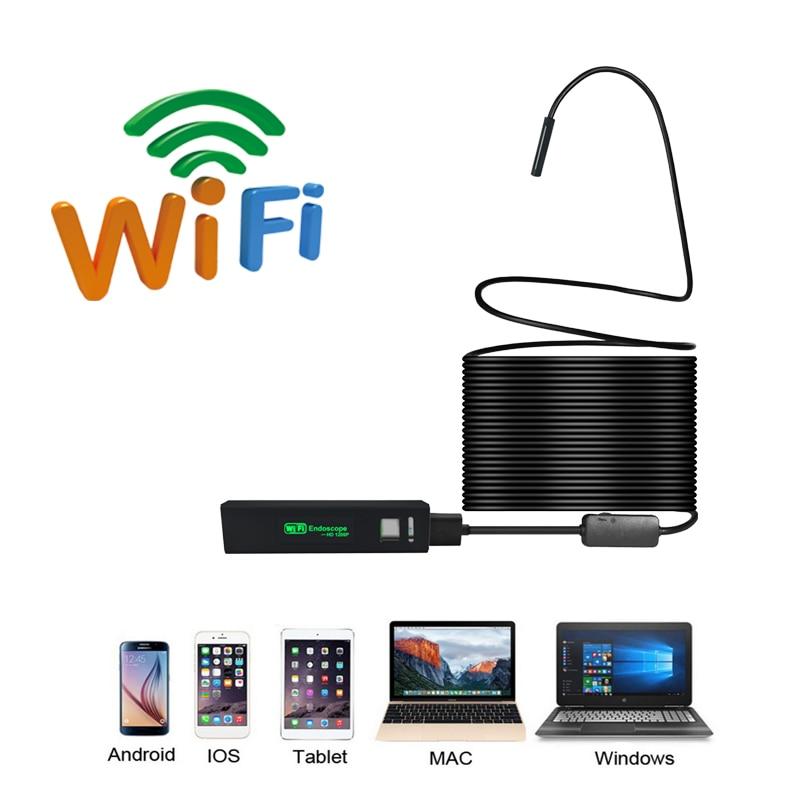 1200P HD Wifi Endoscope Camera Wireless Borescope Camera Endoscopio Semi Rigid Hard Tube and Software Android iOS Endoscope