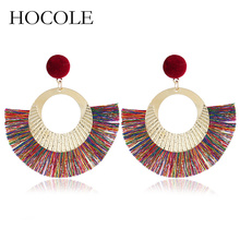 HOCOLE Fashion 2018 Women Tassel Earrings Brincos Boho Statement Fringe Earings Circle Fan Shape Dangle Earring Jewelry