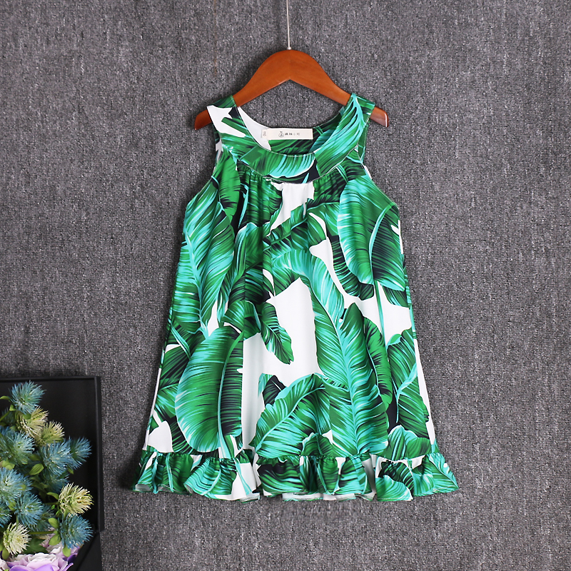 Summer beach children lady girls family matching dress mother daughter A dress Toddler vest skirt braces skirt Green banana leaf tie back leaf tribal print beach dress