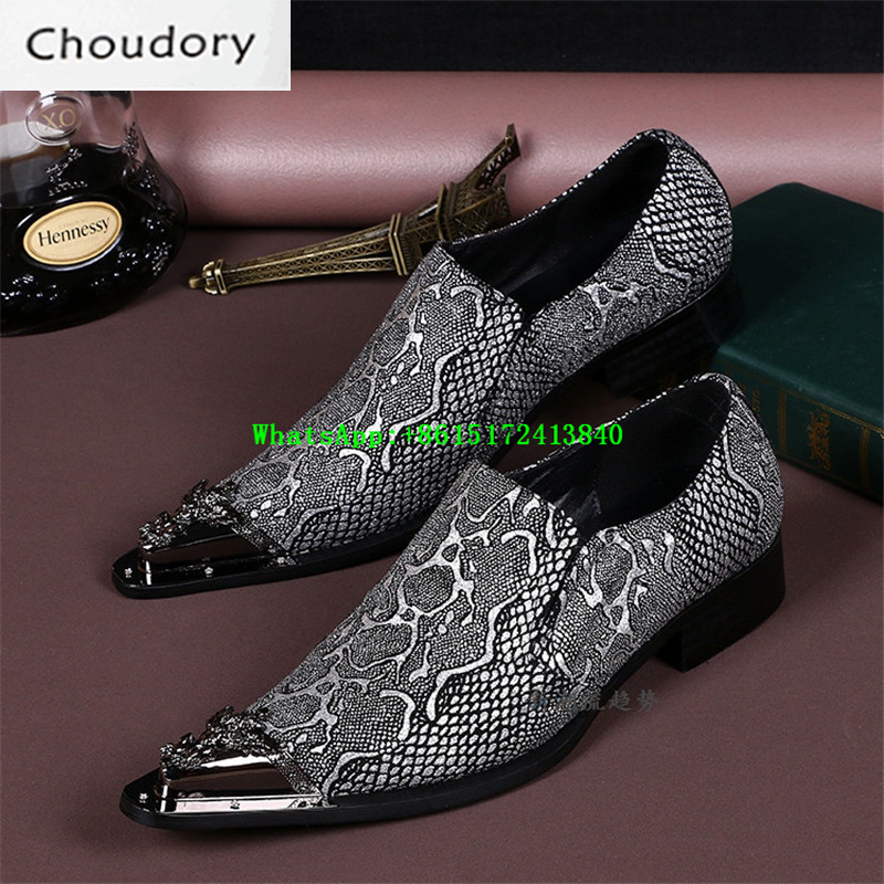 Choudory Gray Python Lines Mixed Colors Mens Shoes Casual Breathable Height Increasing Pointed Toe Embossed Leather Mens Shoes