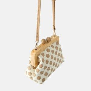 Image 2 - Dot Wooden Clip Bags for Women Canvas Womens Shoulder Bag Retro Crossbody Bags Designer Brand Ladies Clutch Purse Messenger Bag