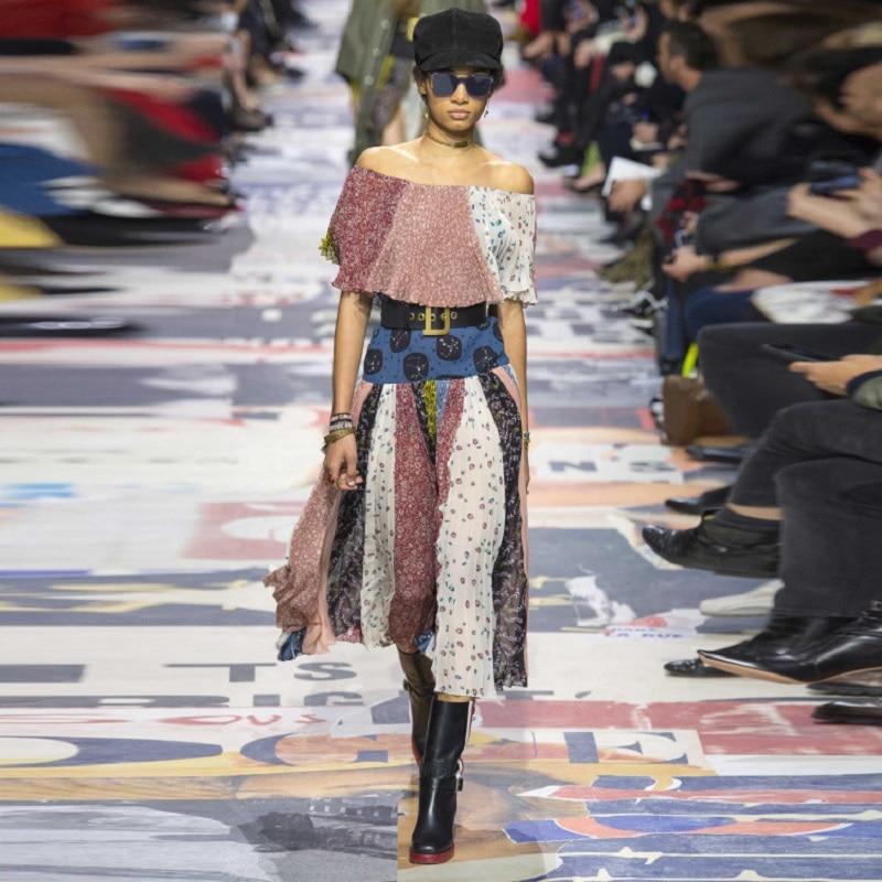 Été Bohème Sexy Hors Épaule Robe Maxi Florale Femmes Piste Mixcolor Slash Nech de Fête des Femmes Robes de Plage Longue Vêtements Tunique