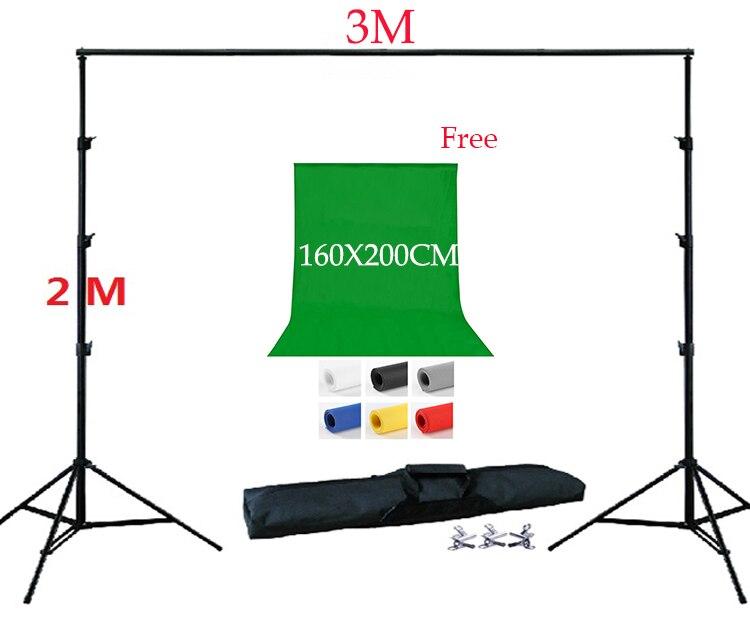 DHL Бесплатная 2 3 м задний план Стенд Комплект 200X160 см фон Бесплатная Нетканая поддержка Комплект сумка 3 зажимы