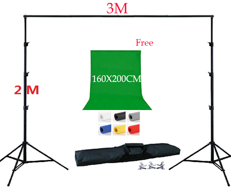 DHL FREE SHIPPING 2X3Meter Background Stand Kit 160x200cm Backdrop Free Non woven Backdrop Support Kit Carrying Bag 3 Clamps