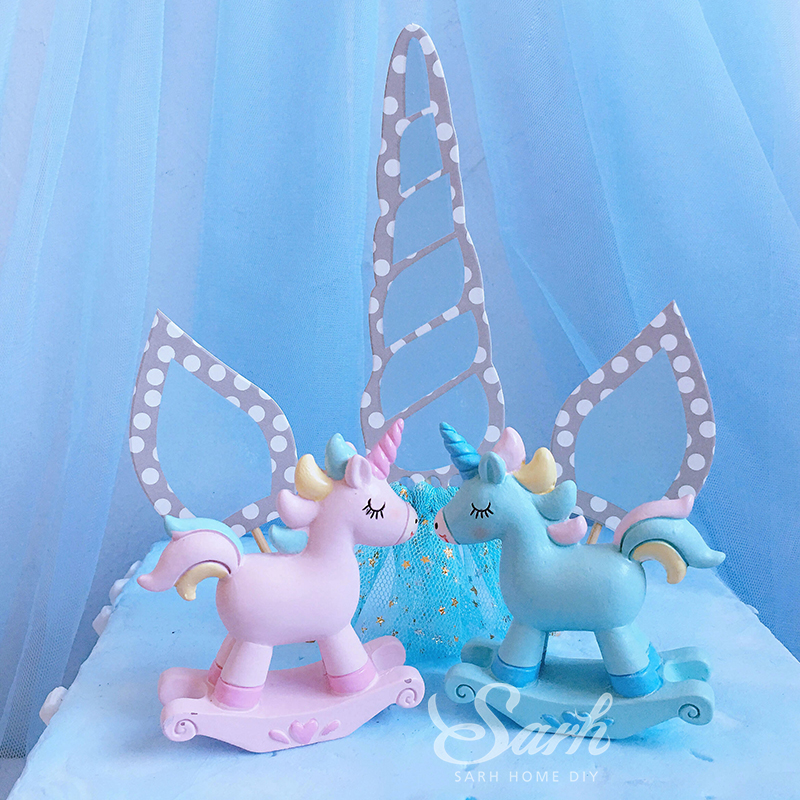 1Pc Blue Pink Lovely Unicorn Trojan Horse Cake Decoration for Party Decoration Birthday Party DIY Gifts