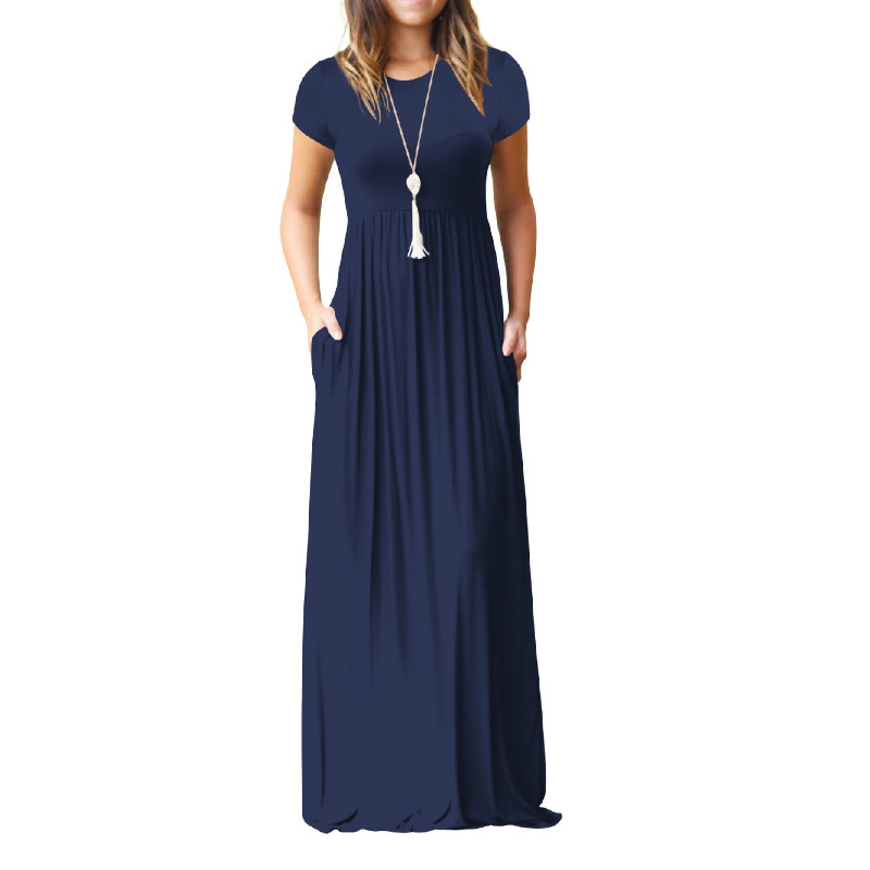 Summer Maxi Long Dress Women Femme Boho Long Dresses Plus Size Casual Pockets New Short Sleeve O-neck Solid Dress S-2XL GV598 3