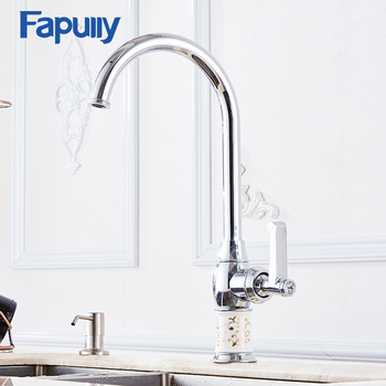 Fapully Kitchen Mixer Taps Deck Mounted White Porcelain Brass Sink Faucet 360 Degree Rotation Vessel Kitchen Faucet donyummyjo best quality wholesale and retail kitchen sink black water faucet 360 degree rotating deck mounted kitchen mixer taps